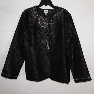 Chico's Black / Silver Beaded Jacket XL